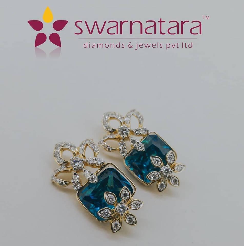 Swarnatara's Precious Stones Changeable Diamond Earrings.