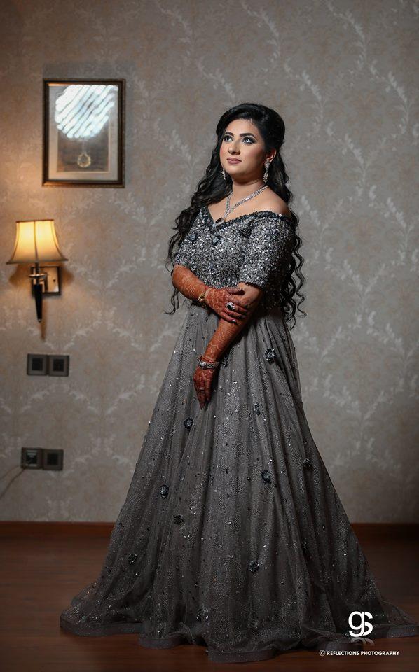Glittering grey Bridal Gown