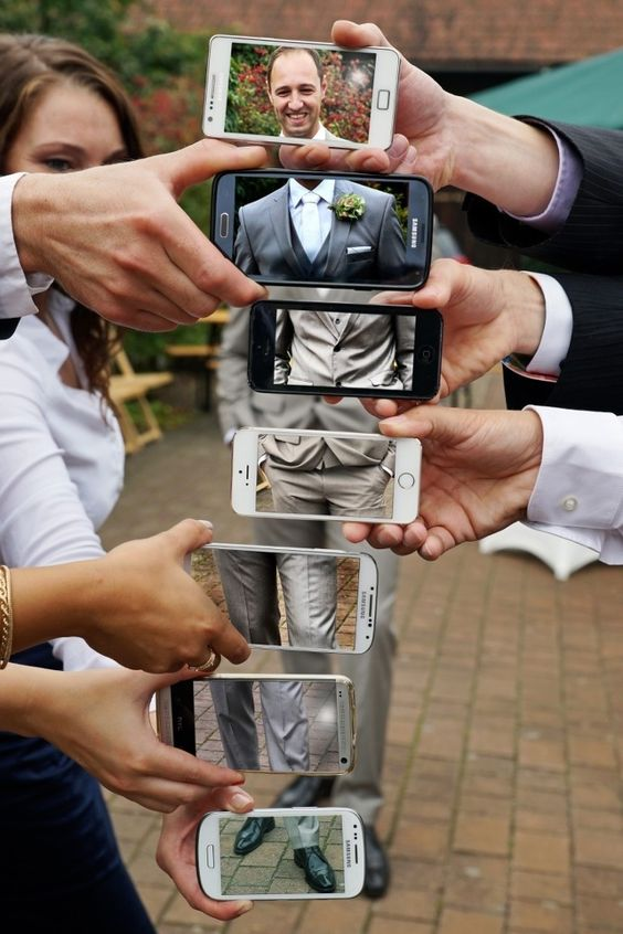 Groom photo in multiple phones
