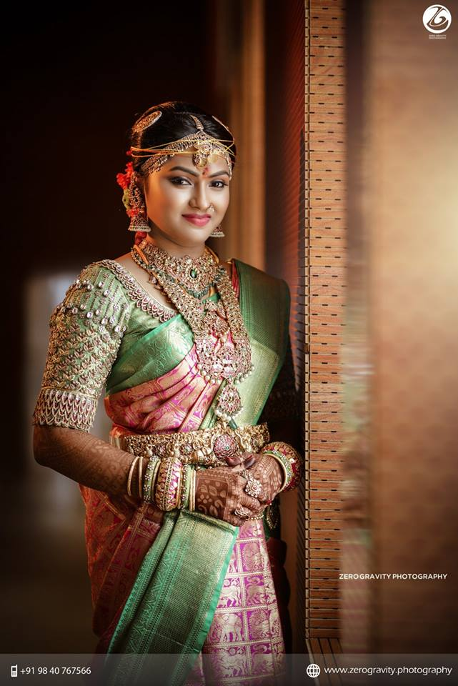 Heavy Bridal pink green silksaree