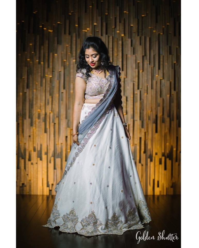 Cute grey bridal lehnga