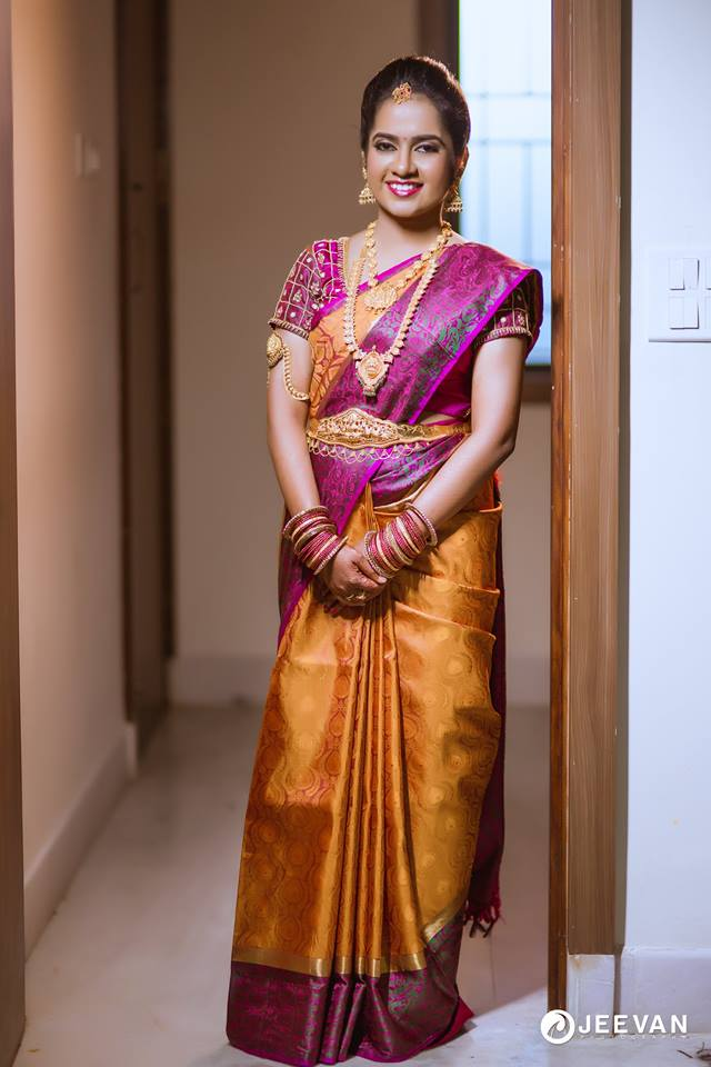 Stunning Yellow with violet border silk saree