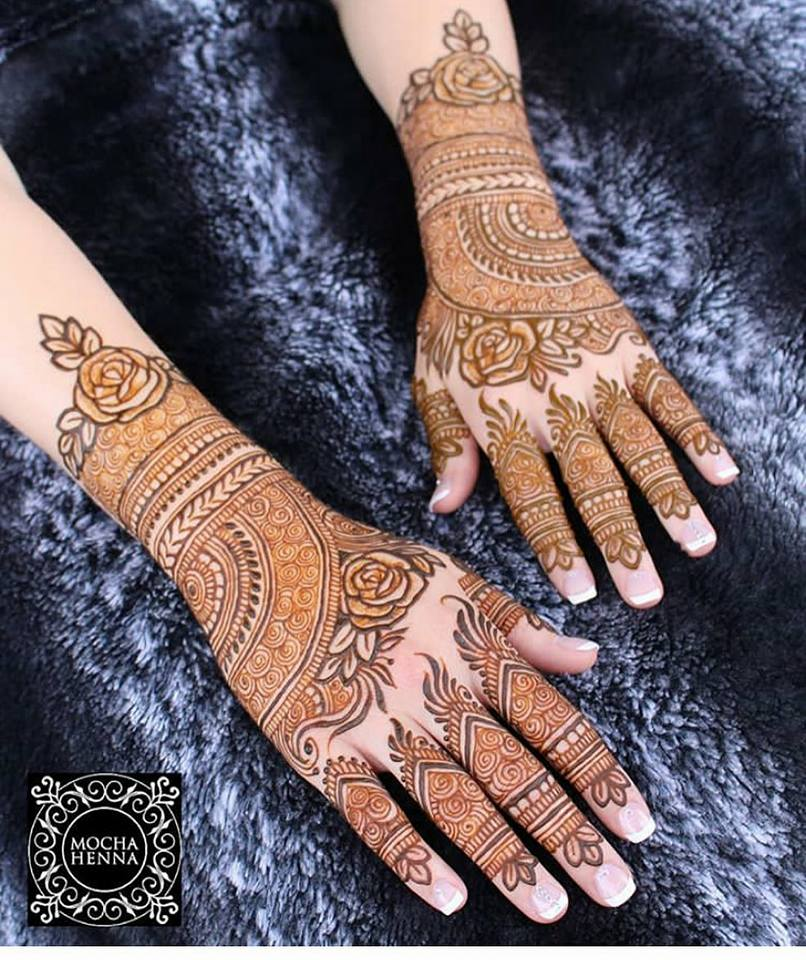 Pretty rose arabic mehndi
