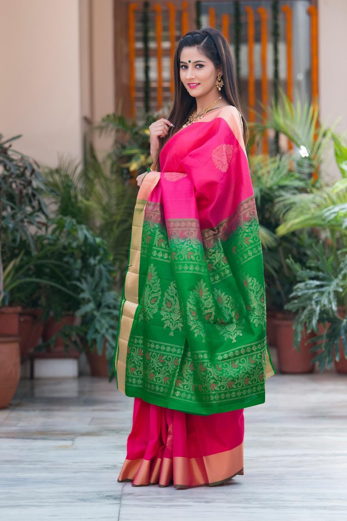 Green And Pink Pure Kanjivaram Soft Silk Handloom With Pure Zari