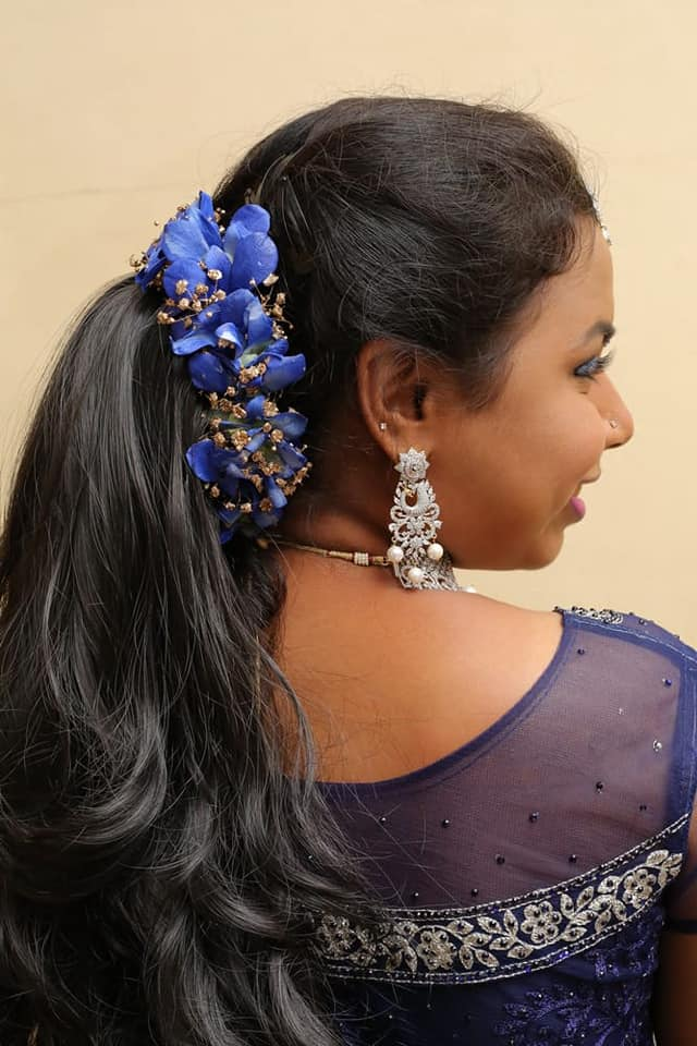 Pretty Blue orchid floweral hairstyle