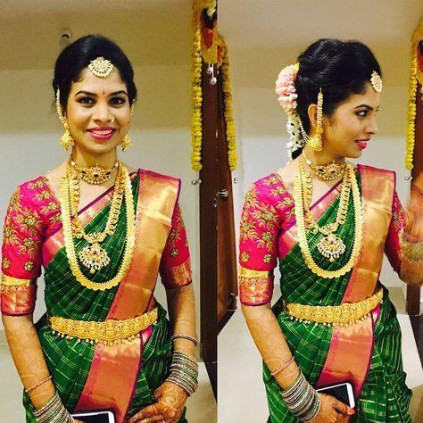 Green Silk Kancivaram saree with pink blouse