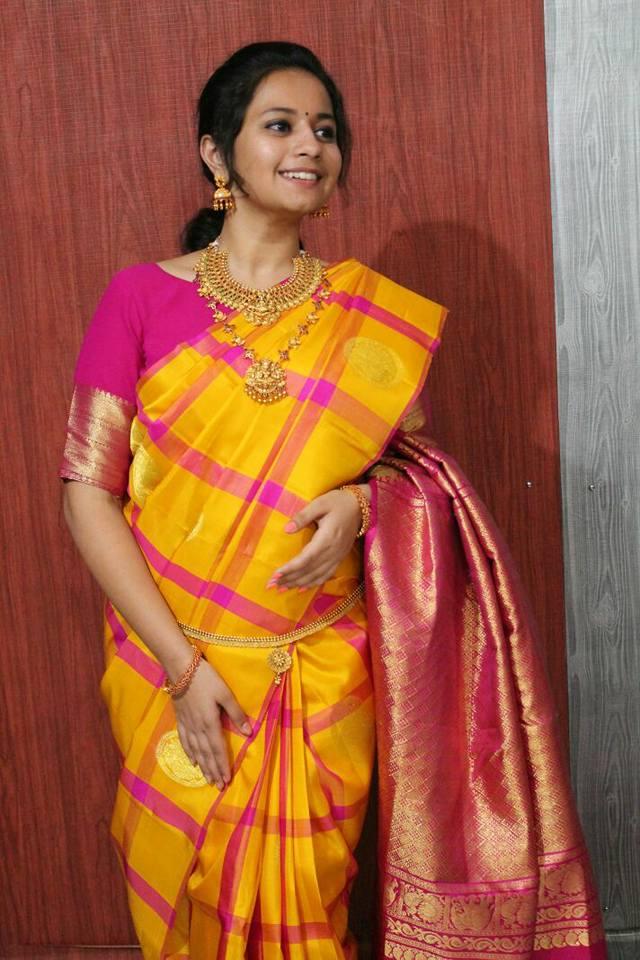 yellow  with pink handloom saree