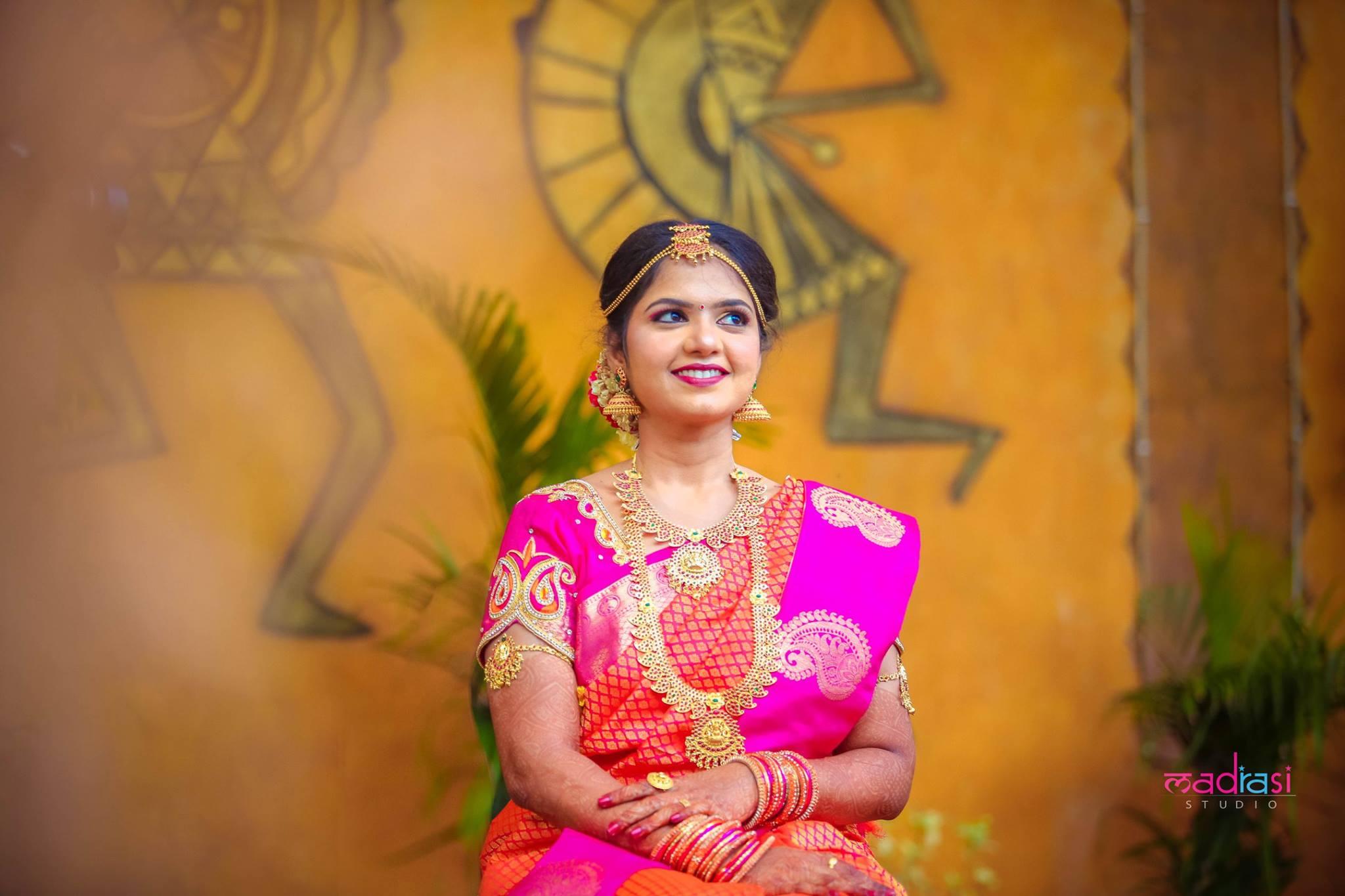 Orange with pink border kancivaram saree