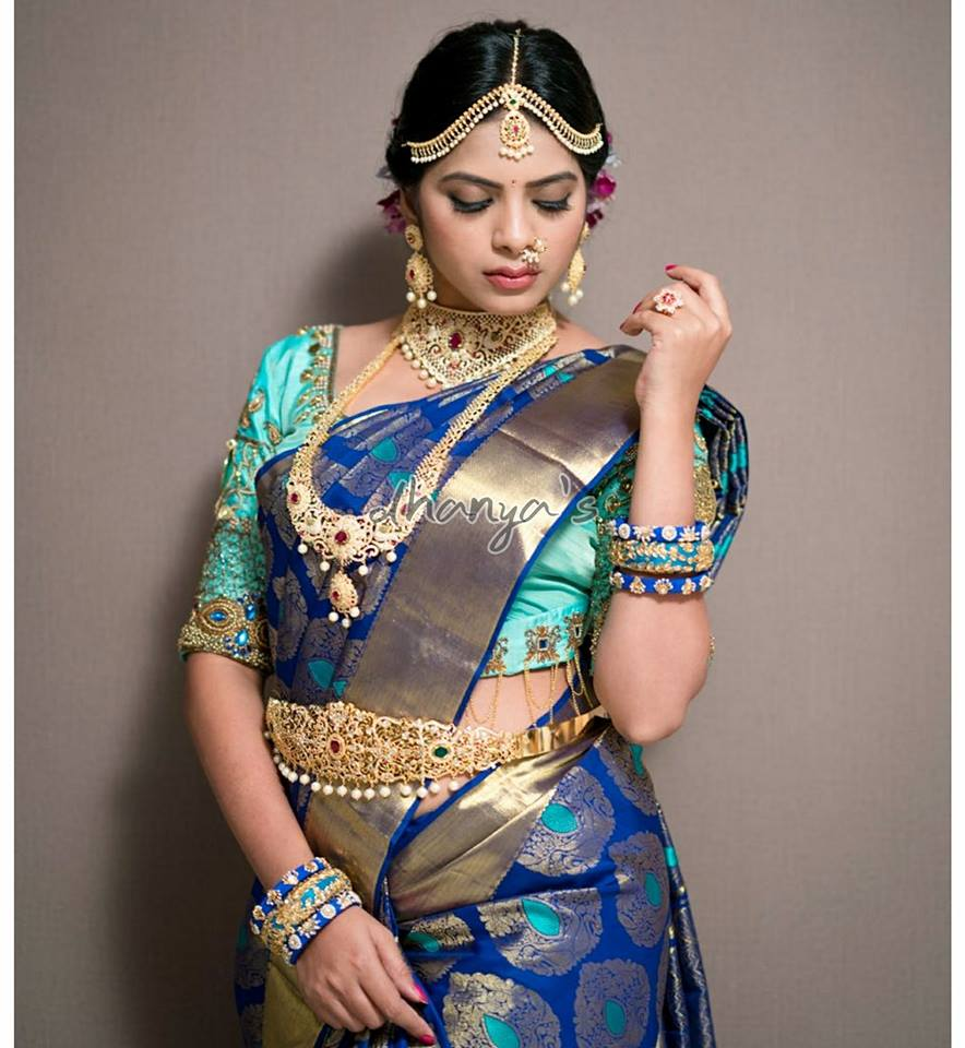 Aqua blue with royal blue silksaree