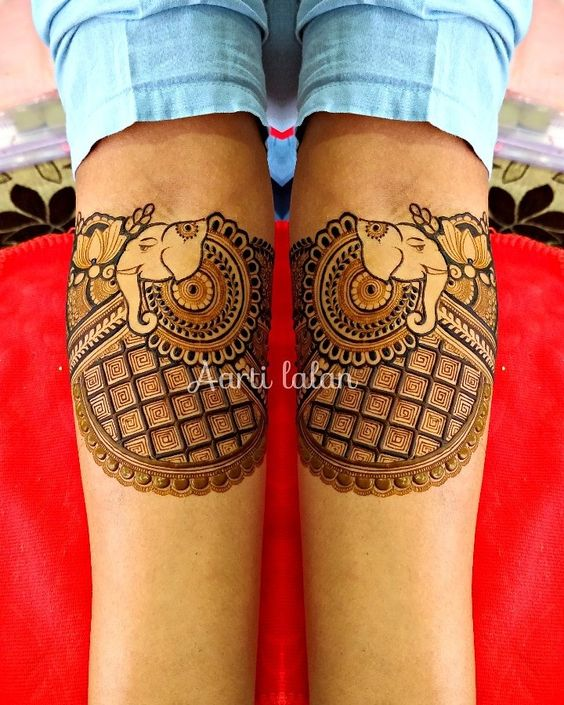 Elephant design bridal mehndi