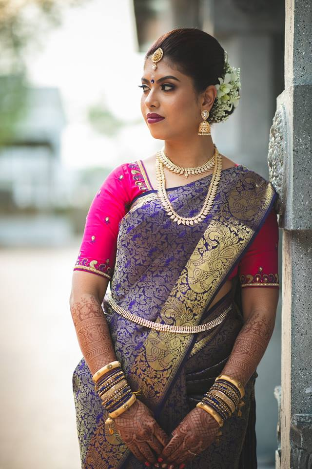 Royal blue silksaree with super pink blouse