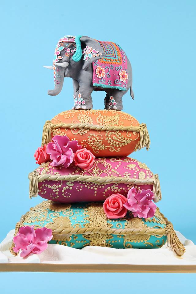 Colorful Three tier Elephant Wedding Cake