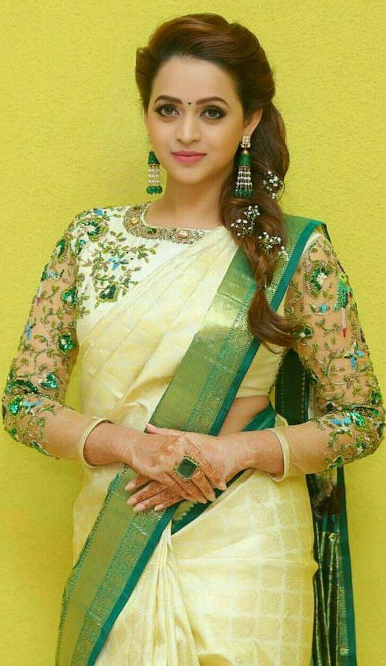 Bhavana's White with Green Silksaree
