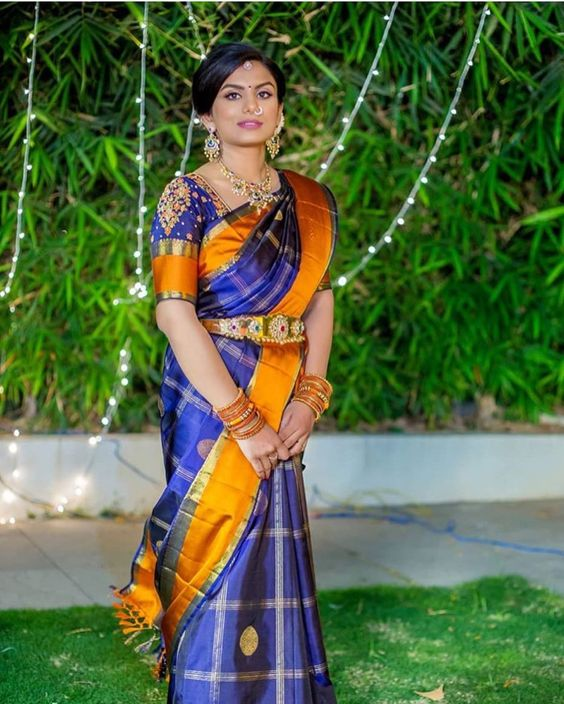 Royal Blue with Orange silksaree