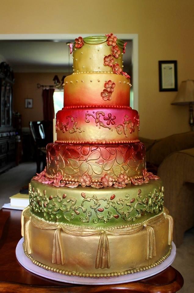 Metallic color flower Wedding Cake