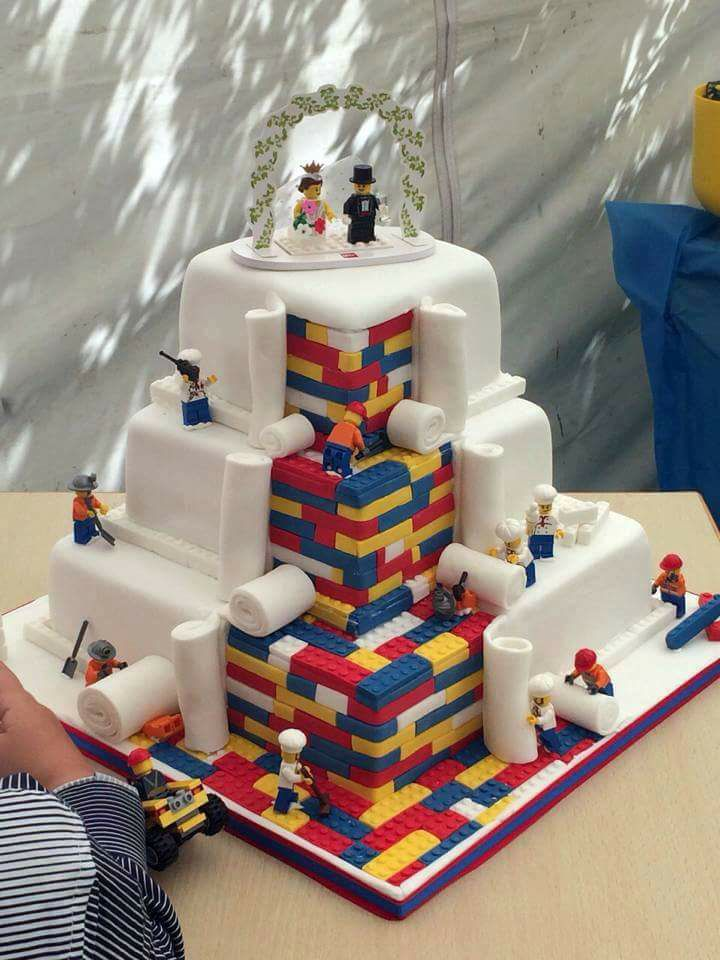 Lego Blocks Couple Wedding Cake