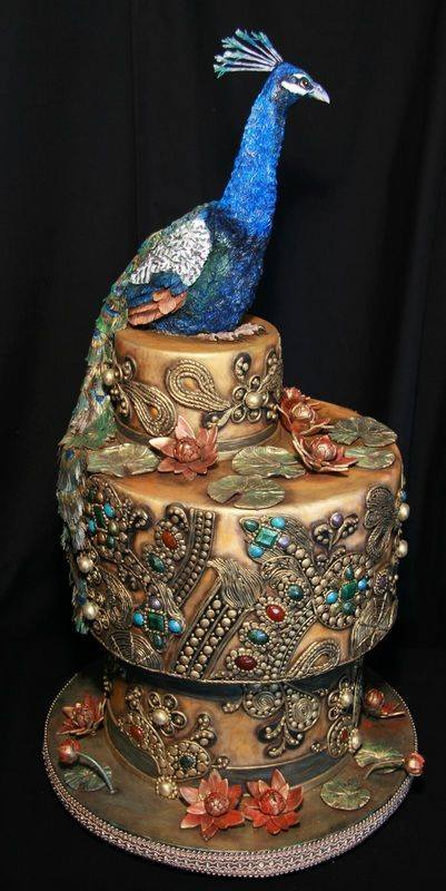 Three tier exclusive Peacock Wedding cakes