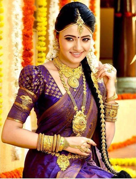 Dark Violet Kancipuram Silk Saree