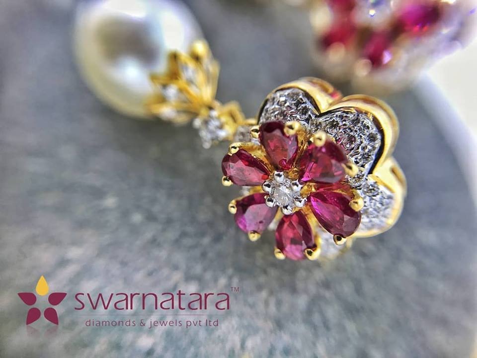 Ruby pearl and Diamond Earring
