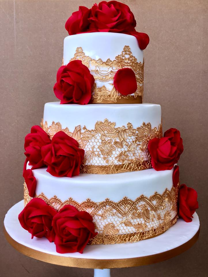 Three tier white with Red Rose Wedding Cake