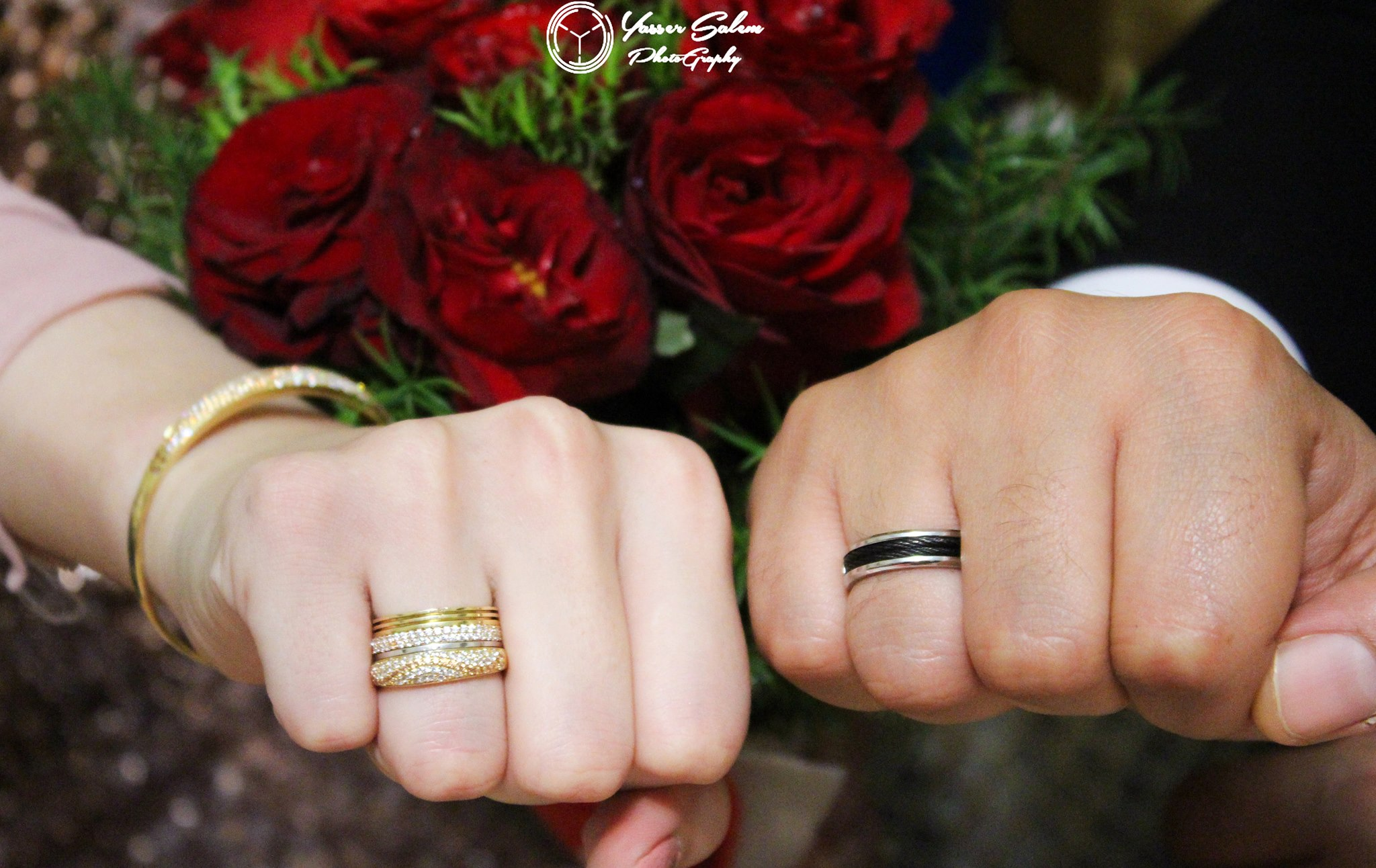 Gold ring for Bride and Platinum ring for Groom