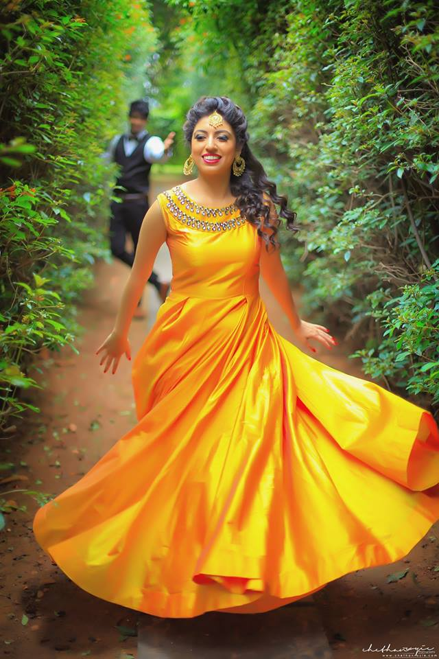 Sparkling Yellow with Jewel work Bridal Gown