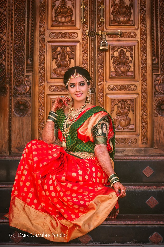 Perfect red saree with Green blouse