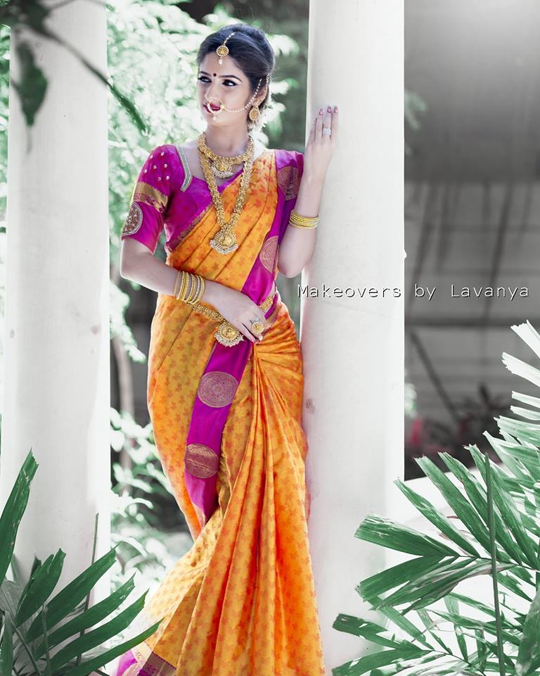 Orange with Purple Silksaree