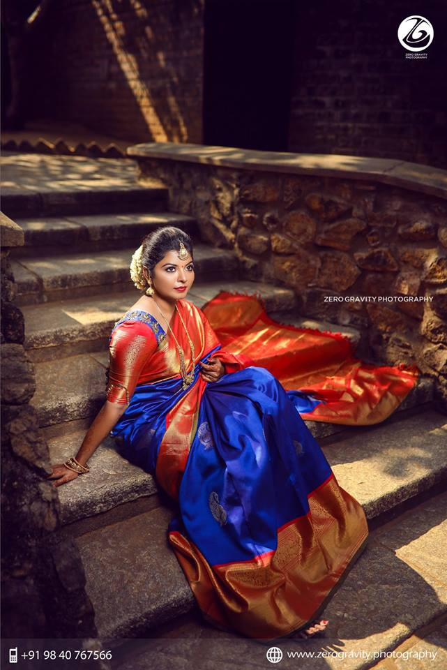 Royal blue with Big red border silksaree