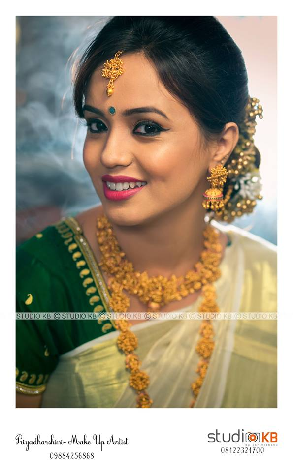 Cute bridal makeup for bride in white