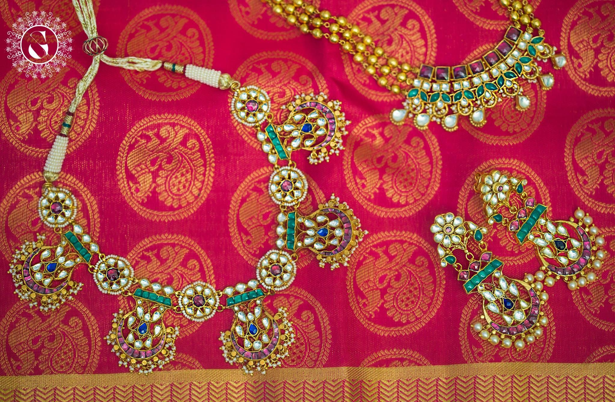 pink and green kundan jewelry