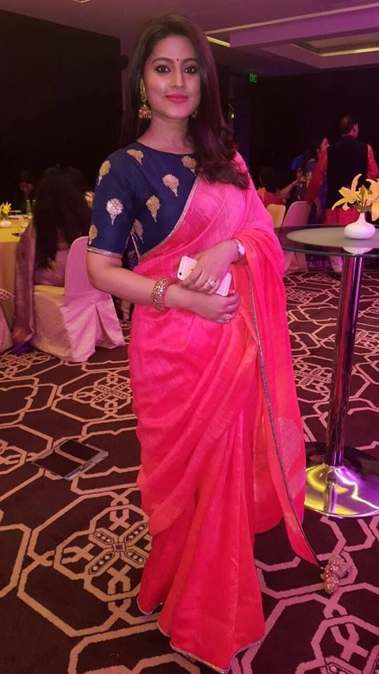 Plain Pink Saree with Royal Blue Blouse