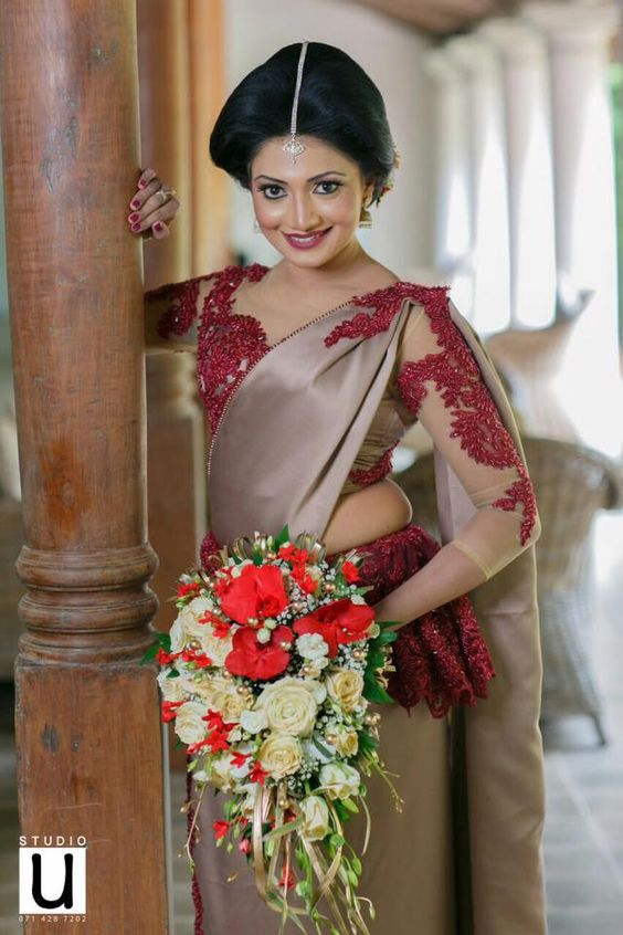 Grey with Maroon Combination Designer saree