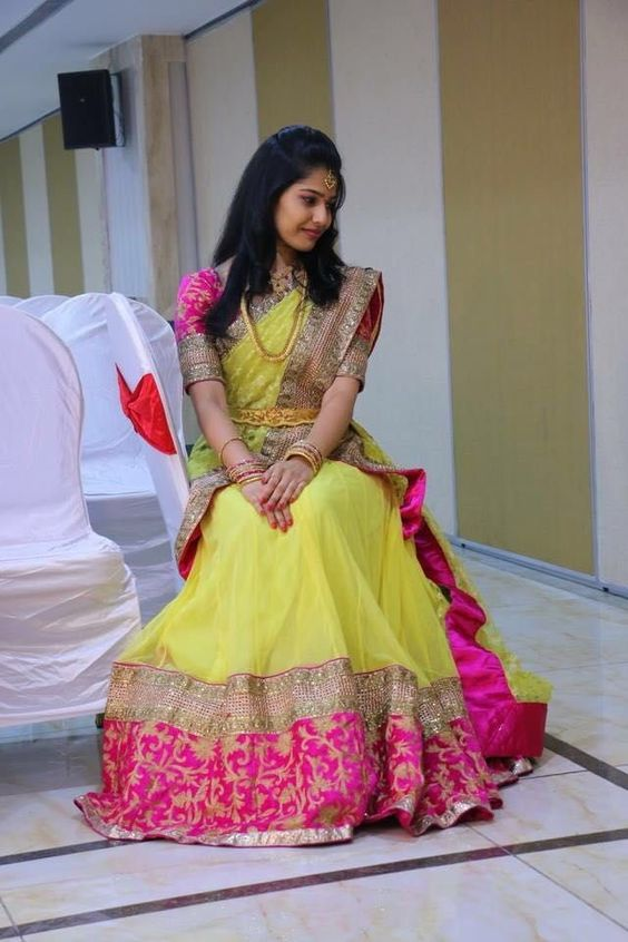 Yellow with Pink Border designer saree