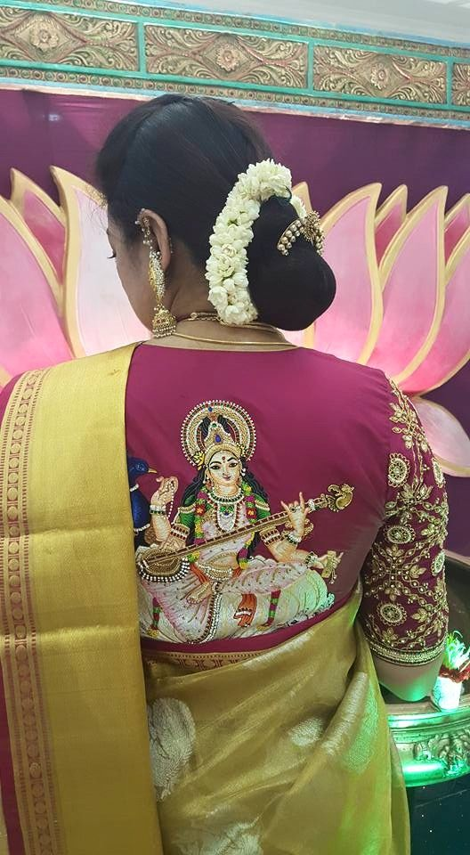 Saraswati embroidery blouse back design