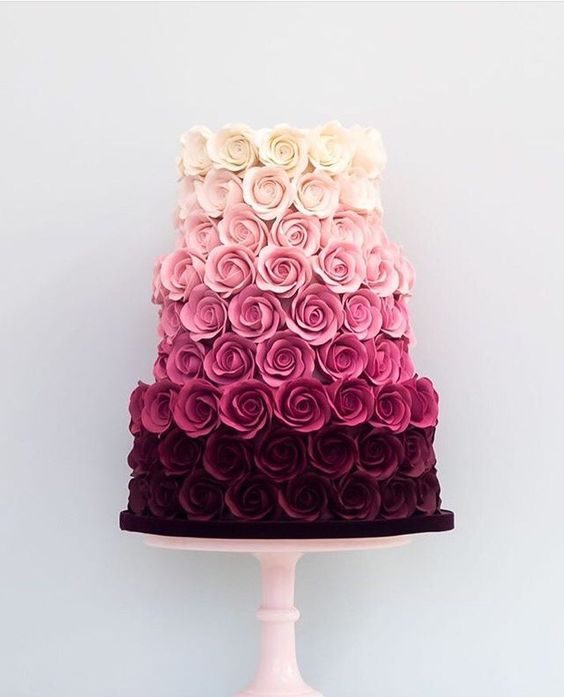 Multiple Colorful Roses wedding Cake