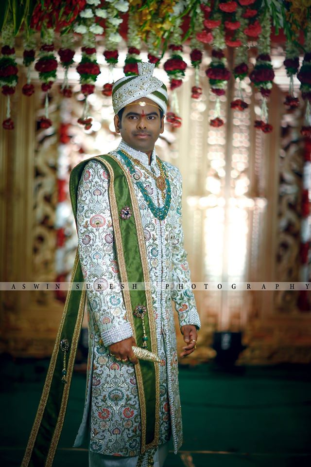 White Embroidery sherwani with green shall