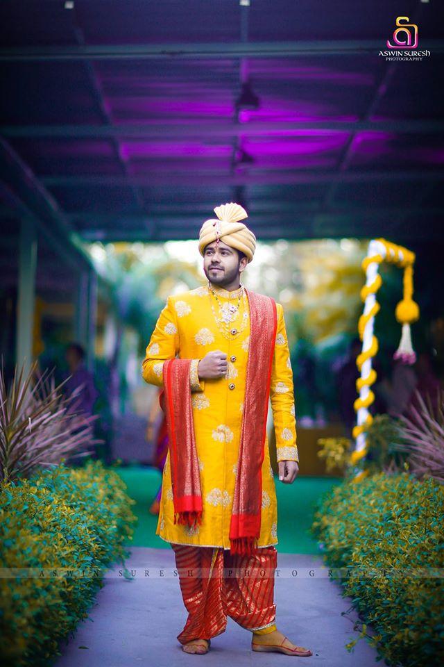 yellow Sherwani with red shall