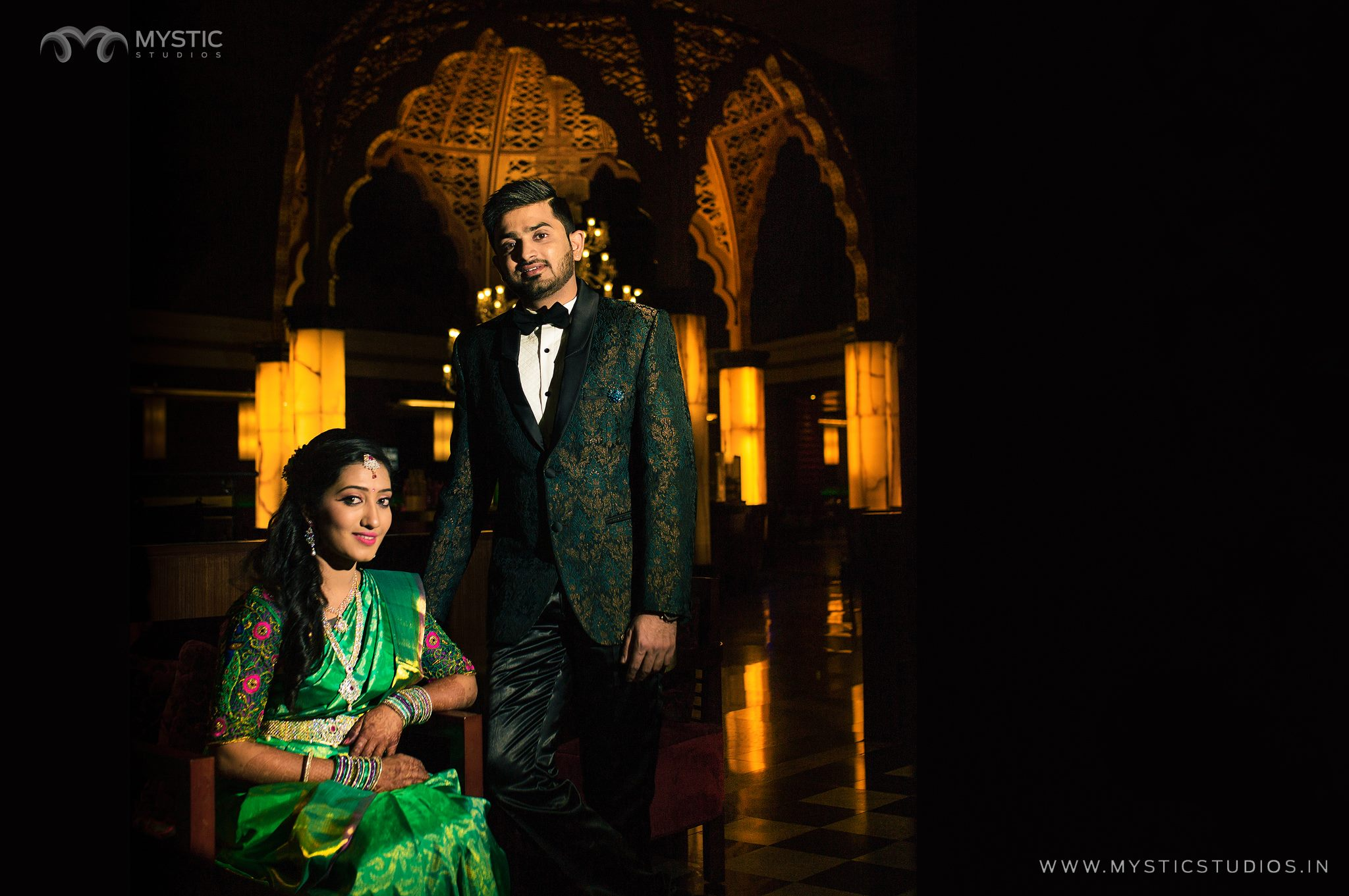Green with Gold Sherwani