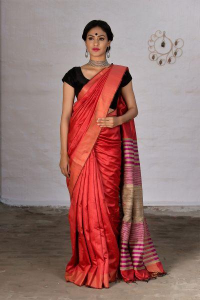 Plain Orange saree