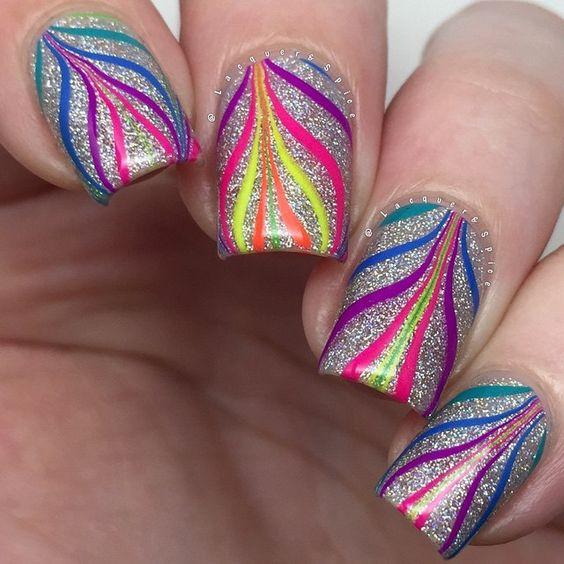 Glittering Rainbow Colours Nail Art