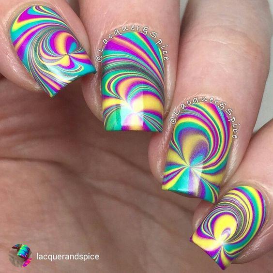 Spiral Rainbow Colour Nail art