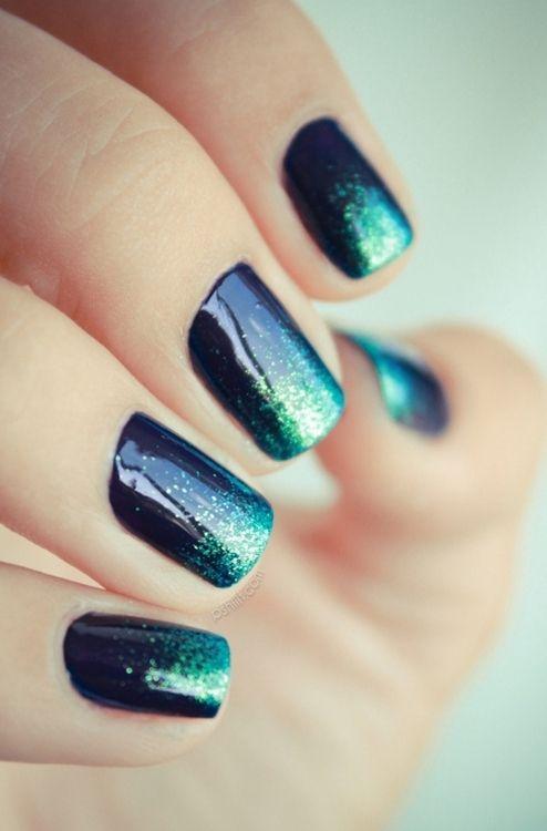 Glittering Blue Simple Nail Art