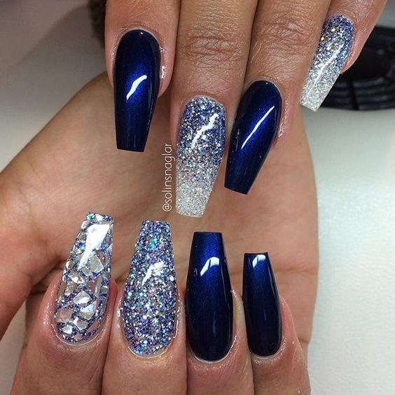 White Royal Blue Glittering Nail Art