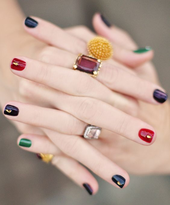 Colorful Simple Nail Art