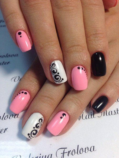 Pink White and Black Nail Art