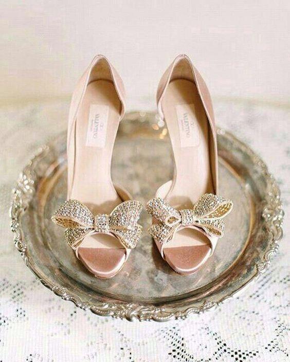 Stone Bow Bridal Heels