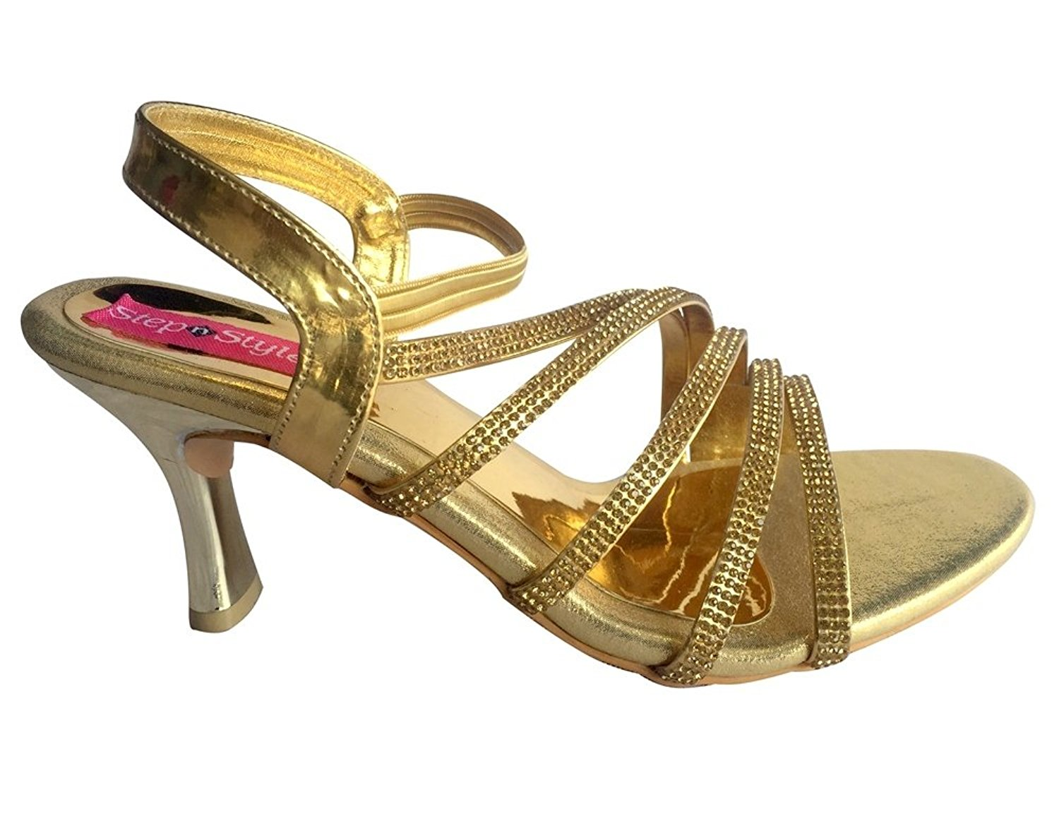 Step n Style Women Gold Strip Party Bridal Sandal