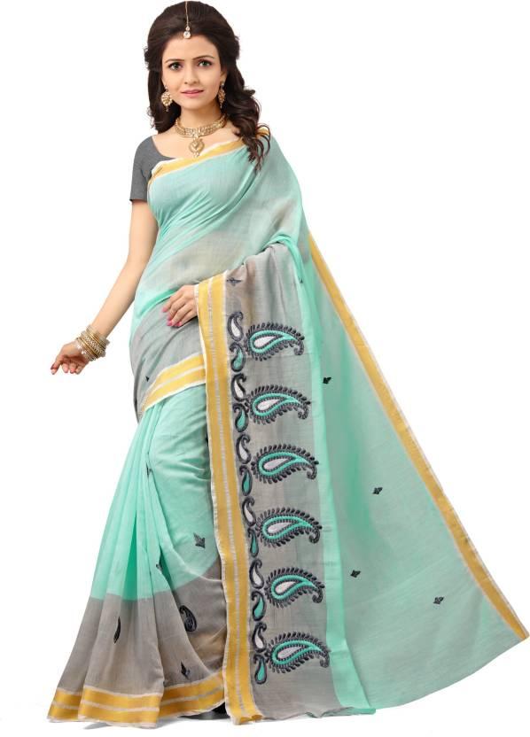 Laddeez Embroidered, Embellished Fashion Cotton Saree