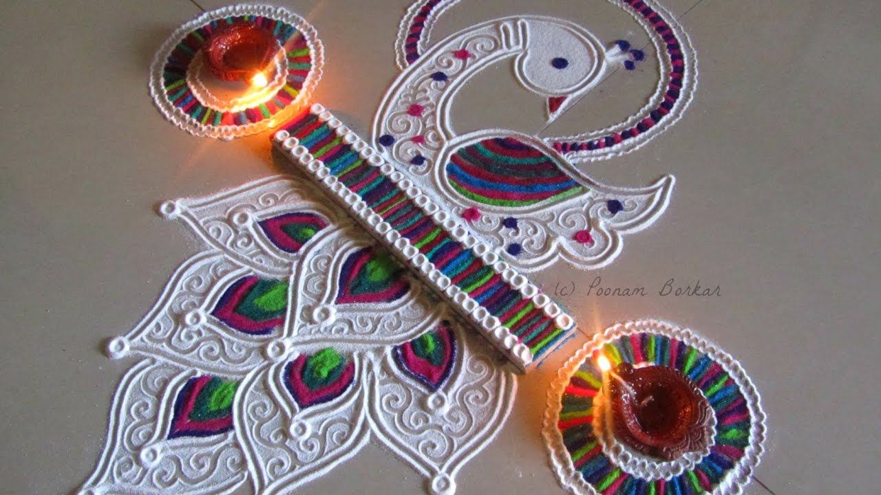 Cute Peacock Rangoli with Diya's